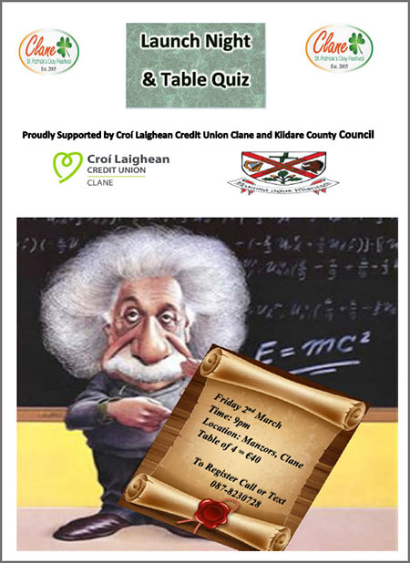 Clane Festival 2018 Table Quiz A4 Poster