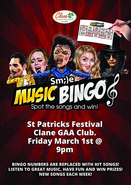 Clane Festival Smile Music Bingo Poster 2019