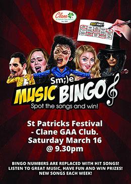 Clane Festival Smile Music Bingo Poster 16 March 2019