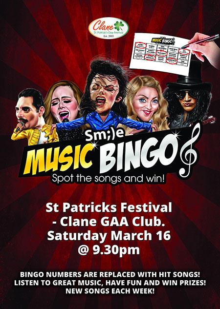 Clane Festival Smile Music Bingo Poster 16 Mar 2019