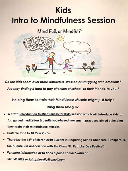 Kids Mindfulness Session 14 March 2019 in association with Clane St Patricks festival