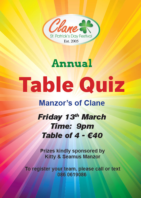 Clane Festival Annual Table Quiz at Manzors 2020