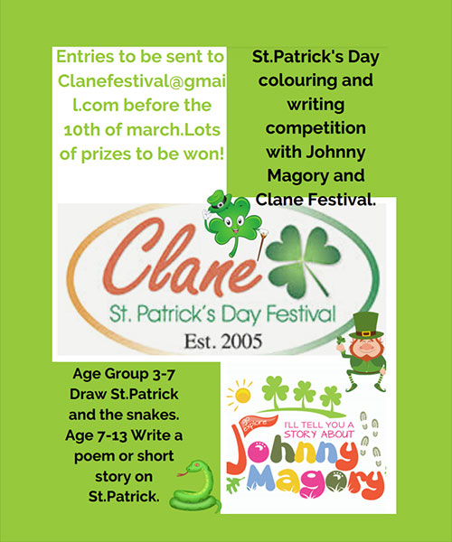 St. Patrick's Day Colouring and Writing Competition with Johnny Magory and Clane Festival 2021